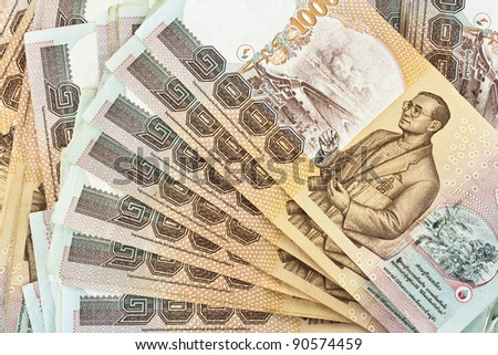 Thailand banknotes arranged in set - stock photo