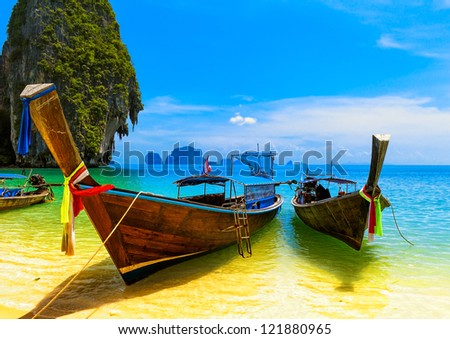Thailand beach and island. Asia resort landscape of sea, adventure boat and ocean coast  - stock photo