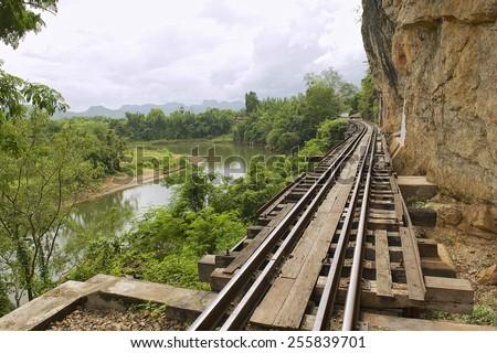 Thailand-Burma Death railway follows the bents of the river Kwai, Kanchanaburi, Thailand. - stock photo