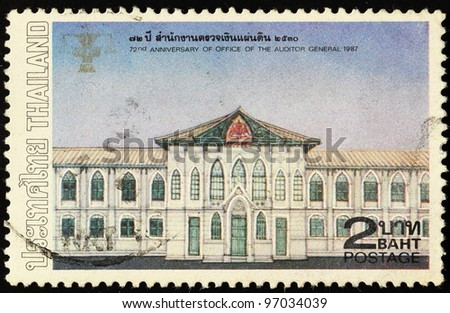 THAILAND - CIRCA 1987: A 72nd Anniversary Of Office Of The Auditor General 1987 stamp printed in Thailand shows Office Of The Auditor General Building, circa 1987.