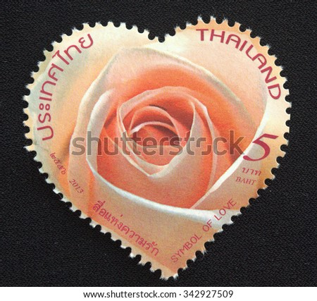THAILAND - CIRCA 2013 A stamp printed in Thailand shows image of Symbol of Love, circa 2013 - stock photo