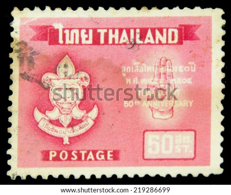 Thailand - CIRCA 1996:A stamp printed in Thailand shows Thai scout 50 anniversary, circa 1996 - stock photo