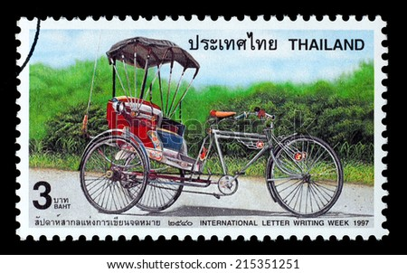 Thailand - Circa 1997: A Thai postage stamp printed in Thailand depicting a rickshaw - stock photo