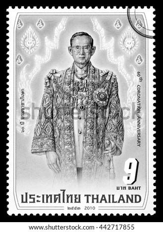 Thailand - Circa 2016: A Thai postage stamp printed in Thailand depicting His Majesty King Bhumibol Adulyadej during the 60th Coronaiton Anniversary, Circa 2010 - stock photo