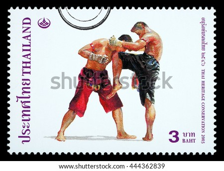 Thailand - Circa 2010: A Thai postage stamp printed in Thailand depicting traditional Muay Thai boxing, circa 2003 - stock photo