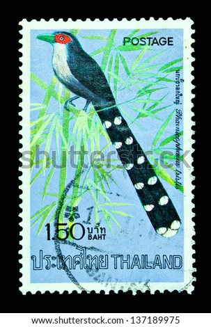 "THAILAND - CIRCA APRIL 1975: A postage stamp printed in Thailand shows image of Thai bird with the inscription ""Terpsiphone Paradise"", from the series ""Thai birds, 2nd Series"", circa April 2, 1975"