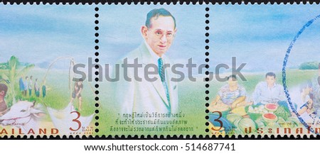THAILAND - CIRCA 2005: stamp printed by Thailand, shows dedicated to the King Bhumibol Adulyadej New Theory of Agriculture, circa 2005