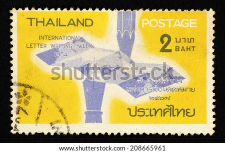 thailand circa 1964 yellow color postage stamp printed in thailand with image of a