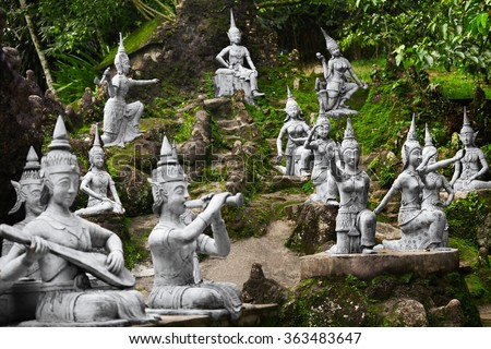 Closeup Of Magic Secret Buddha Garden Stone Statues In Koh Samui. Figures Of