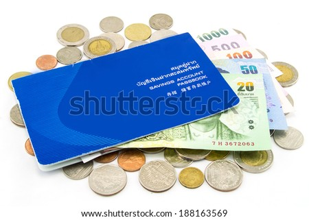 Thailand Coins and Account Passbook - stock photo