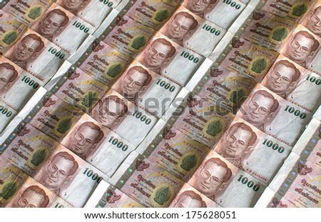 Thailand Currency 1000 Bath, BankNotes.