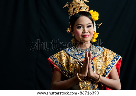 "Thailand Dancing art ""Khon"" that high class of dance in Siam Bangkok Thailand. Studio Female Dancing art with Black back ground - stock photo"