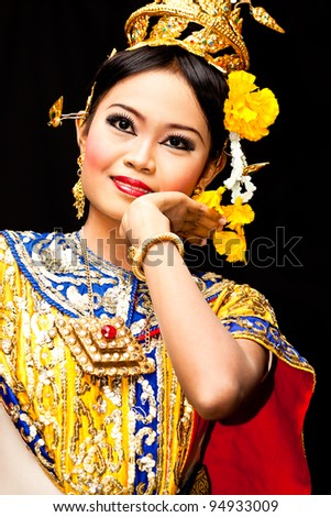 "Thailand Dancing art ""Khon"" that high class of dance in Siam Bangkok Thailand. Studio Female Dancing art with Black back ground - stock photo"