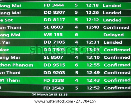 thailand domestic flight schedule in Don Muang airport