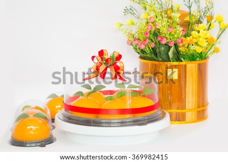 Thailand, February 2016; orange cake are favorite for make a sacrifice to gods during Chinese new year.