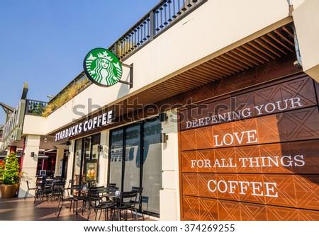THAILAND - FEBRUARY 5: Starbucks Coffee coffeehouse at Maharaj Pier, Chao Phraya riverside on February 5, 2016 in Bangkok, Starbucks is the largest coffeehouse company in the world.  - stock photo