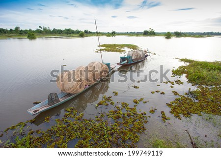 Thailand fishing with fish traps. - stock photo