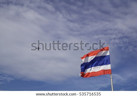 Thailand flag and blue sky