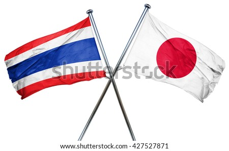 Thailand flag  combined with japan flag - stock photo