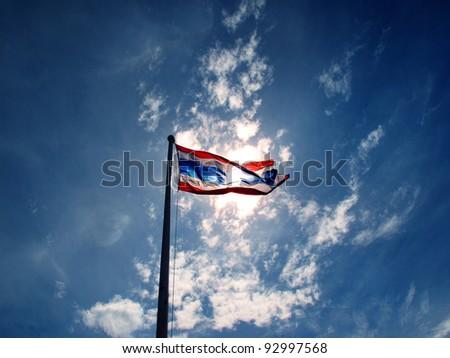 thailand flag on the blue sky - stock photo