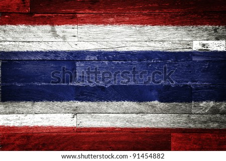 thailand flag painted on old wood background - stock photo