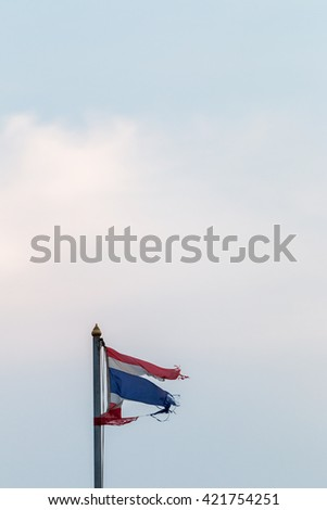thailand flag with nice sky on flagstaff.