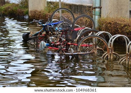 Thailand flood 2011,Bangkok,Thailand,Asia. - stock photo
