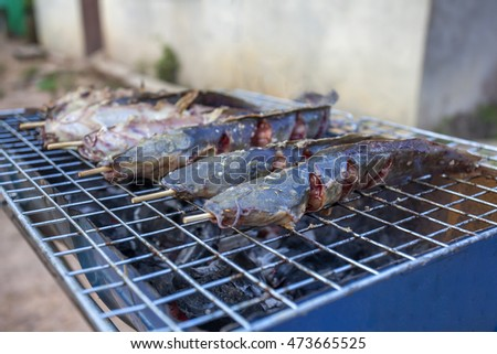 Thailand food recommend, catfish barbecue grill.