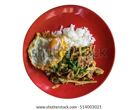 Thailand food restaurant rice bamboo shoots and basil fried meat put on plate red dish delicious in Breakfast or Lunch or Dinner. Photoshop Paths