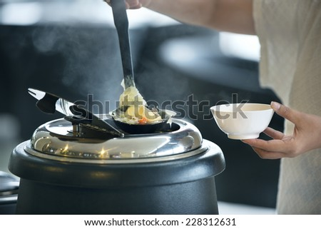 Thailand Food ,Tofu Soup with vegetable and pork. - stock photo