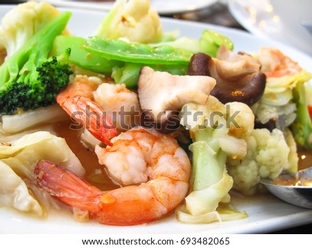 thailand food vegetables fried with shrimp