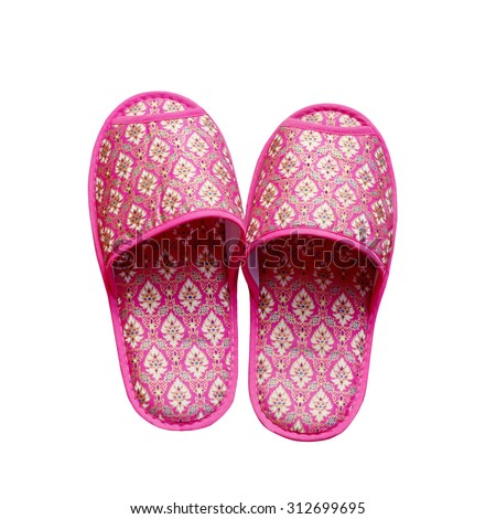 Thailand handmade cloth slippers isolated on white background. This has clipping path.