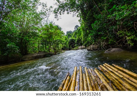 Thailand Jungle River bamboo - stock photo