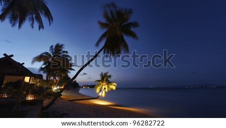 Thailand, Koh Samui (Samui Island), coconut palm trees on the beach at sunset - stock photo