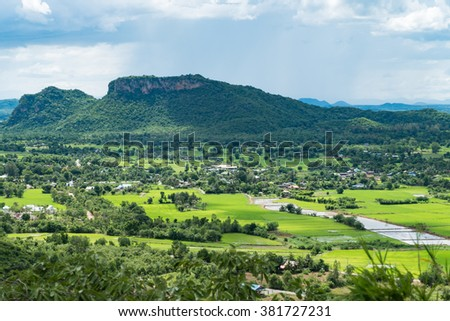 Thailand landscape of rural city and mountain under the cloudy sky,process color