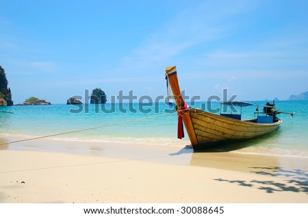 Thailand long boat in paradise