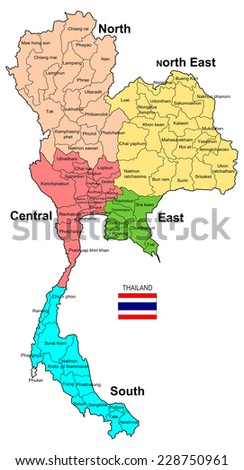Thailand Map 5 Regions 77 Provinces Stock Illustration 228750961