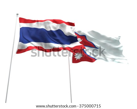Thailand & Nepal Flags are waving on the isolated white background - stock photo