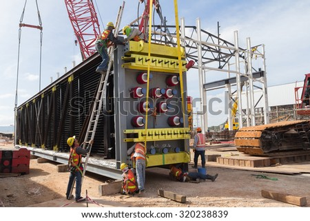 THAILAND NOVEMBER 14,2012 : Construction workers in power plant site