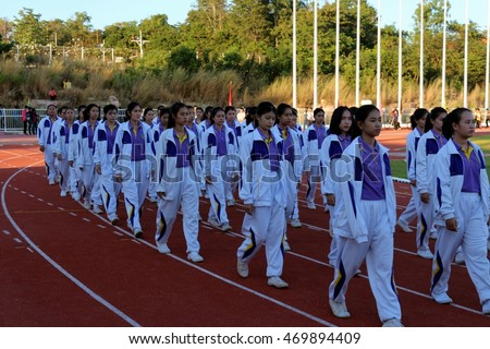 THAILAND - November 28: Students marched in sport day parade on stadium in Chaiyaphum Rajabhat University Thailand,28 November 2015
