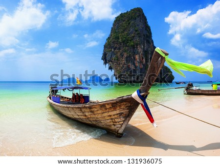 Thailand ocean beach. Thai journey scenery landscape with boats on exotic tropical place