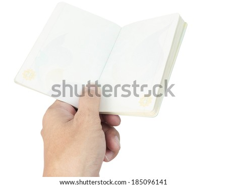Thailand Passport blank and hand on white background - stock photo