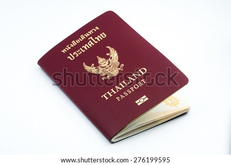 Thailand passport book on white background