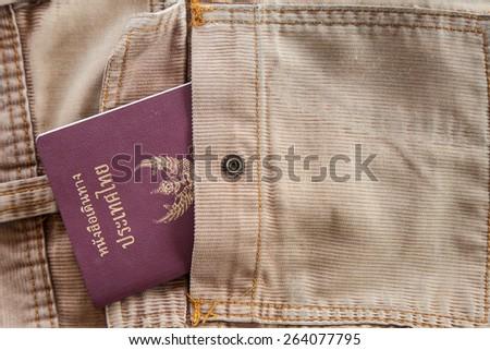 Thailand passport in the pocket  - stock photo