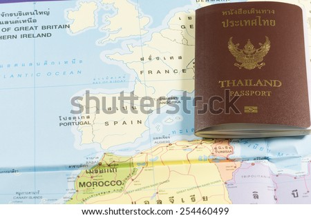 Thailand Passports on a map of the France, Spain,Andorra  and Portugal.