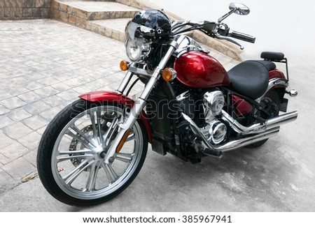 THAILAND, PATTAYA - JANUARY 08,2016:View of a shiny motorcycle. Close up view of a shiny motorcycle engine.