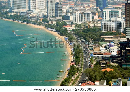THAILAND, PATTAYA - MARCH 06: Panorama of the city with views of the city's waterfront, top view on March 06.2015 in Pattaya, Thailand.