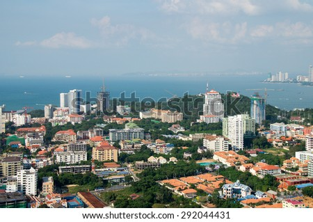 THAILAND, PATTAYA Panorama of the city with views of the city's waterfront, top view in Pattaya, Thailand. - stock photo