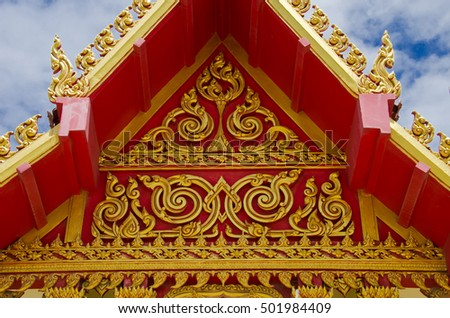 Thailand pattern, gabled roof temple Thailand
