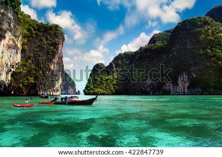 Thailand, Phi Phi Island. Hot summer day at sea - stock photo